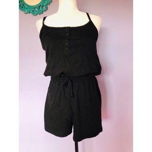 Primark black cotton romper with tie waist